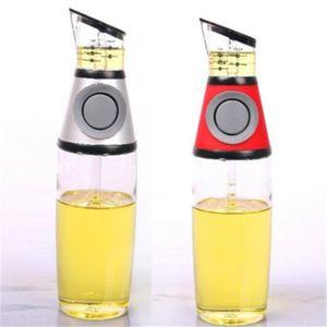 Botella de aceite de prensa Pot medible de cristal con las botellas de aceite Escala de prevención de fugas de vinagre de cocina Dispensador pote de aderezo de contenedores 11cm H1