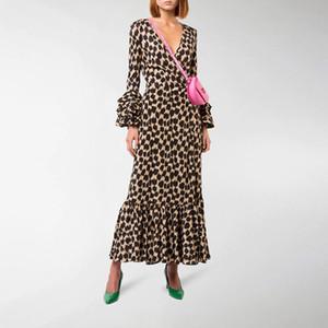 2020 Stampa elegante leopardo vestito per le donne abiti con scollo a V Flare manica vita alta Abiti Donna Autunno oversize della moda di New