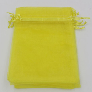 Hot ! Lemon Yellow 7x9cm 9X11cm 13X18cm Organza Jewelry Gift Pouch Bags For Wedding favors,beads Accessories