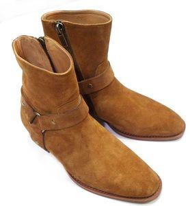 Heißer Verkauf-Mode Wyatt Biker Ketten Stiefeletten Herren Schuhe Spitz Schnalle Männer Stiefel Leder Männer Kleid Schuhe Botas Militares Schuhe Männer