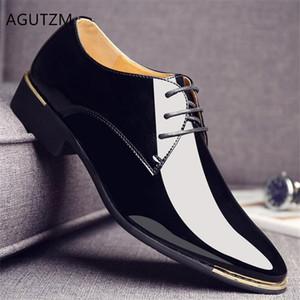 AGUTZM İngiltere Trend rahat ayakkabı Erkek Oxford Flats Zapatillas Erkek Artı Sneakers Moda Rugan Erkekler ayakkabı sivri Y220