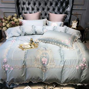 الضوء الأزرق الفاخرة الأوروبية الرعوية التطريز المصرية القطن الفراش مجموعة حاف غطاء السرير ورقة سادة الملكة الملك حجم السرير مجموعة
