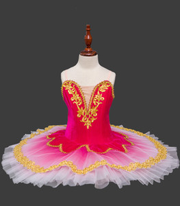 Chicas de oro de terciopelo ballet tutú del ballet del cisne Niño Lago Rojo Traje de vestir para niños Pancake Tutu niñas Dancewear