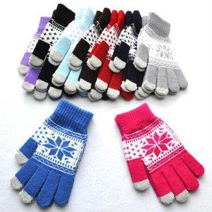 Eldivenler Kar Tanesi Dokunmatik Ekran Eldiven Noel Kış Örme Eldivenler Kızlar Aktif Akıllı Telefon Örgü Eldiven Açık Parmak Eldiven C6466 yazdır