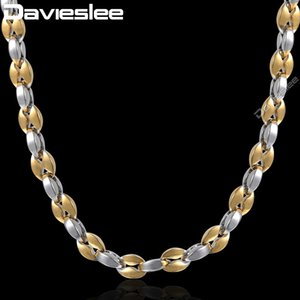 Davieslee Mariner Link Necklace Boys Mens Chain Coffee Bead Stainless Steel Gold Silver Color 5mm DKN499