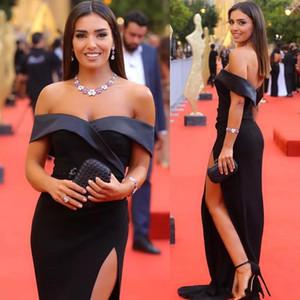 Negro sirena de la manera de la celebridad 2020 Dresse de Split Hombro formal de la ocasión especial vestido de fiesta de Prom Vestidos Largos Vestidos de fiest