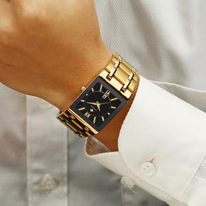 WWOOR venta caliente mens relojes rectangulares superior del oro negro casual de cuarzo reloj de pulsera para hombre regalo inoxidable Band hombres Fecha de reloj