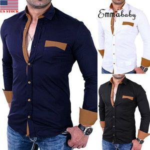 2020 Erkekler Lüks Gömlek Pamuk harman Gömlek Yaka gündelik İş Formal Tops Kişilik Kesme Slim Fit Gömlek Standı