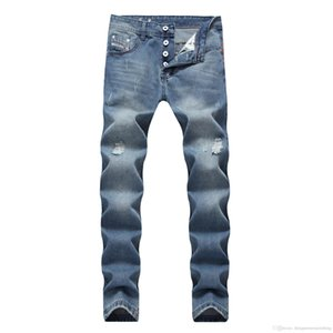 Light Blue Jeans Hommes droites Designer Slim long Distrressed braguette Jeans Mode Homme Vêtements