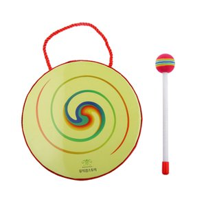 Hand Crafted Hand Drum with Mallet Percussion Instruments Kids Educational Toys