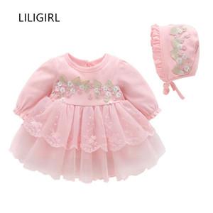 Liligirl Uzun kollu Çocuklar Için Zarif Elbise Bebek Kız Dantel Aplike Romper + şapka Elbise Prenses Yüz Gün Parti Elbiseler Y19061001