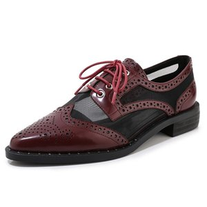 Pointed Toe Brogue Shoes Women Flat Lace Up Air Mesh Oxford Shoes For Women Casual Genuine Leather High Quality