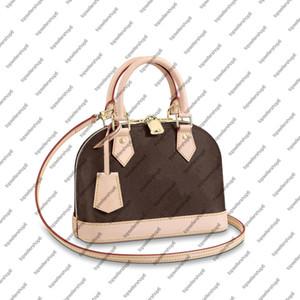 M53152 ALMA BB Shell frizione donne progettista del cuoio genuino della tela di canapa borsa messaggero della spalla crossbody della borsa del sacchetto di borchie sul fondo