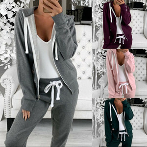 Señoras de la chaqueta con capucha zip deporte Hasta manga larga capucha de las mujeres ocasionales Gimnasio color sólido con capucha Abrigo