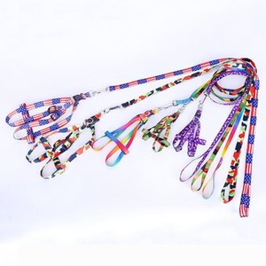 Wholesale Cat Pet Dog Necklace Rope Tie Collar Leash Animals Supplies Accessories Printing Nylon Dog Adjustable Pet Leash Puppy DH0273