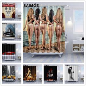 Sexy Women Silhouette criativa Poliban Loiro Bikini Girl Voltar Ver o Banho Shower Curtain decoração Red Sports Car Bath Curtain