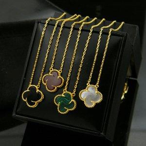 Heißer Verkauf vier Blatt-Klee-Blumen-Schmucksachen für Frauen Halsketten-Schwarz, Grün, Rot Perlmutt Klee Halskette