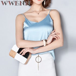 WWENN Harness İpek Bluz Gömlek Kadınlar 2019 Yüksek Kalite İlkbahar Yaz Casual 7 Renk Gömlek Kolsuz Bluz Kadınlar blusas Tops