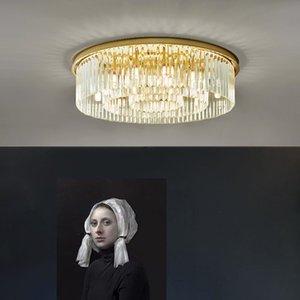 현대 크리스탈 샹들리에 천장 방 침실 공부방 생활 라운드 LED 천장 조명 조명 골드 샹들리에 마운트 플러시 점등