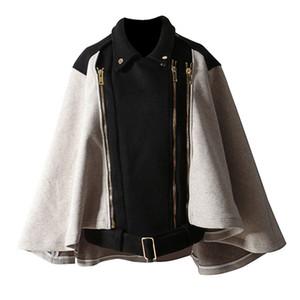 Mujeres Estilo Vintage Turn-down Collar Capa Patrón Cremallera Diseñado de dos maneras Desgaste Desmontable Worsted Cape Coat Black FS0699