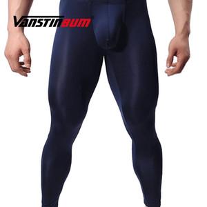 VANSTINBUM Long Johns Sheer Calças Compridas Sexy Gay Transparente Ver Através Calças Justas Leggings Salão Exótico Bulge U Bolsa Cueca