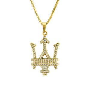 Neptun Trident Kristall-hängende Halskette Hip Hop Punk für Männer Statement Ketten Sea-Liebhaber-Geschenk