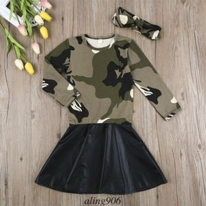 US Toddler Child Baby Girl Cute Camo Long Sleeve Dress Headband Outfits Set Sports Skirts