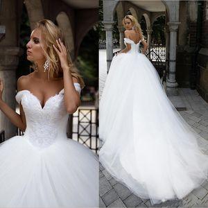 Novo vestido de bola vestidos de noiva querida fora do ombro princesa vestidos nupciais frisados rendas com vestidos de casamento de lace-up de pérolas
