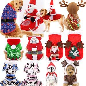 Новогоднего украшение животного костюма собака Сант жилет щенок Кошка партия Костюм Pet Xmas Elk Снежинка партия реквизит Толстовка LJJA3274