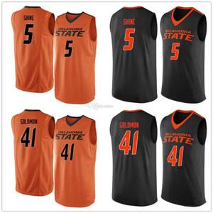 Oklahoma State Cowboys College #5 Tavarius Shine #41 Mitchell Solomon Basketball Jersey мужская сшитая на заказ номер название Майки