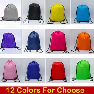 2019 12 stili solido di colore del sacchetto di Drawstring poliestere 210D panno della palestra di sport danza Zaino bambini Abbigliamento Calzature Borse bagagli pieghevole Bag M34F