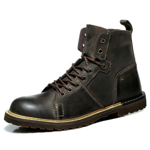 Top Quality Genuine Leather Men Boots Fashion Men Winter Boots Brand New Brown Gray Yellow