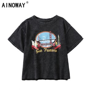 Vintage Fashion Women Harajuku Old Washed O-neck T-shirt Fashion Crop Top Print Cotton Tops Nice Camiseta de manga corta Y19072001