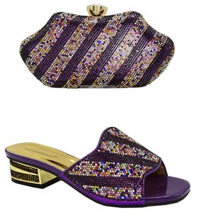 2020 High Quality African Shoes And Bag Set Nigerian High Heels Shoe And Matching Bag Set For Party Dress Wedding in Purple Color