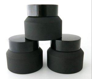 15g 30g 50g gel en verre noir Pot de crème avec Couvercles blanc Joint d'insertion Container Emballages cosmétiques en verre crème Pot LLFA