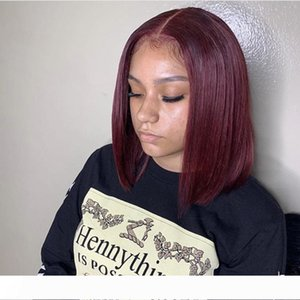 Short Bob Brazilian 100% human full lace hair wigs #99J Silky Straight lace front human hair wigs with baby hair no shedding