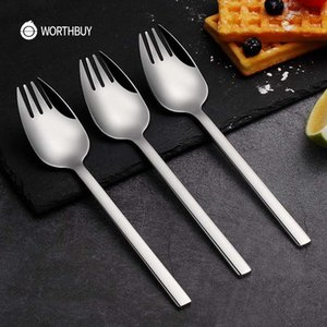 Tenedor de cena multifuncional de WorthBury 304 cuchara de tenedor de acero inoxidable con mango largo, conjunto de frutas de fideos, selecciones de cocina
