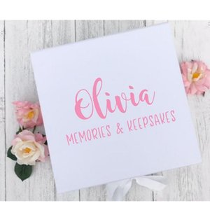 Personalised memory box for new baby girl featuring name, custom baby keepsake box for newborn's parents, shower gift