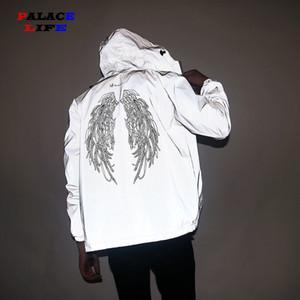 Erkekler Ve Kadınlar Floresan Jacke Kapşonlu tam yansıtıcı Çift WINDBREAKER su geçirmez Ceket erkek Yüksek sokak hip hop Gevşek Coats