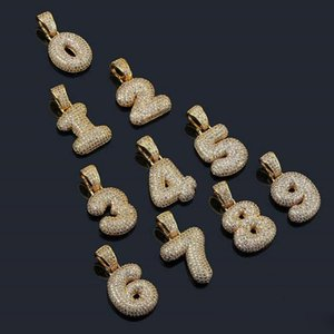 0-9 números de la burbuja colgante de collar de cuero de lujo de los hombres de las mujeres hip hop bling el número de diamantes colgantes de oro collares regalo de la joyería