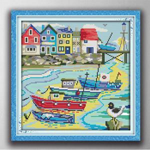 Cartoon Harbor Of Love Hauptdekormalerei, handgemachte Kreuzstich-Stickerei Needlework setzt Druck auf Leinwand DMC 14CT / 11CT gezählt