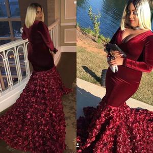 Bunrgundy Velvet Plus Size Ballkleider 3D Rose Floral Mermaid Tiefer V-Ausschnitt Lange Ärmel Robes de Soirée Abendkleider