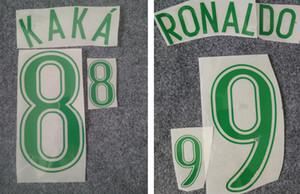 2006 Brasilien grün Retro Druck Fußball Namenssätze KAKA 'RONALDO Spieler Stempeln Aufkleber Brasilien Fußball Buchstaben Kunststoff gedruckt Nummerierung