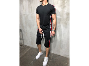 رجل الكامل رياضية الأعلى تي شيرت الرياضة أسفل مجموعات البدلة سروال Trouses شرائط 2 PC أزياء القطن عادية مريحة مجموعة يقصر رجل