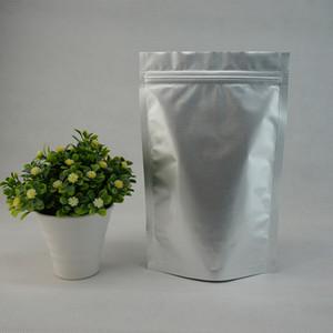 19x29 + 5cm 100pcs / lot Tenez le sac ziplock de papier d'aluminium pur d'argent blanc, poche en plastique autoportante réutilisable, sacs d'emballage de soja