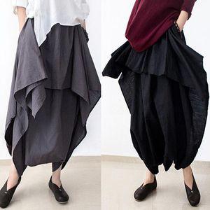 Pantaloni larghi di Harem larghi della cascata dei pantaloni lunghi larghi del cotone delle donne