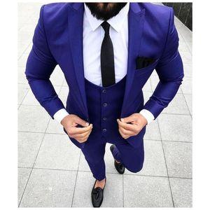 Erkekler Custom Made 3 Adet Balo Smokin İçin Son Mavi Goorm Erkekler Suit Slim Fit Düğün Suit (Ceket + Pantolon + Kravat)