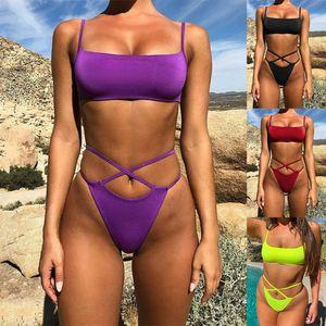 Sexy solid color two-piece set split bikini with bare back split Bikini swimsuit female straps cross swimsuit female