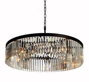 Kreisförmige hängende Kristalllampe Vintage-Eisen-Anhänger Light Industrial Loft Retro Round Droplight Bar Cafe Schlafzimmer Amerikanische Villa Hängeleuchten