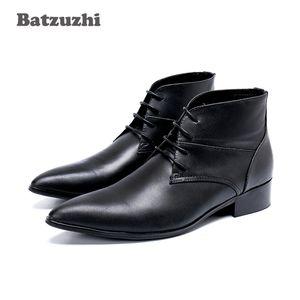 Batzuzhi type japonais bottines hommes à bout pointu en cuir véritable bottes hommes formel d'affaires à lacets Gentlemen Botas Hombre